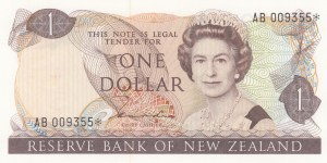 New Zealand, 1 Dollar, 1981, UNC, p169a, REPLACEMENT