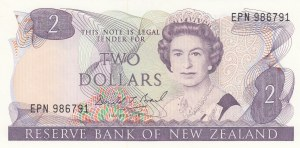 New Zealand, 2 Dollars, 1989, UNC, p170c