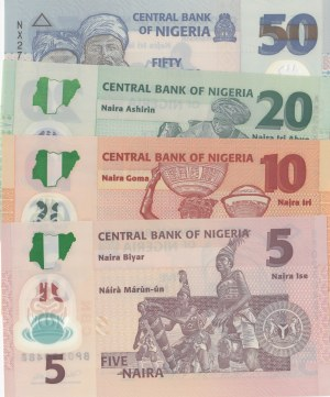 Nigeria, 5 Naira, 10 Naira, 20 Naira and 50 Naira, 2011-2017, UNC, (Total 4 banknotes)
