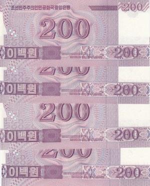 North Korea, 200 Won, 2008, UNC, p62, (Total 4 banknotes)