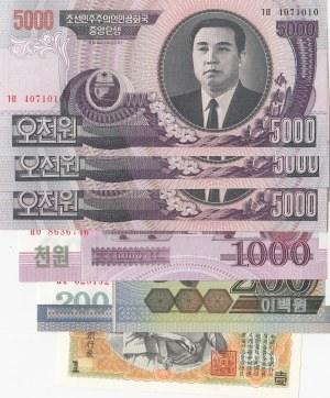 North Korea, 1 Won, 200 Won, 1000 Won and 5000 Won (3), 1947-2008, UNC, (Total 6 banknotes)