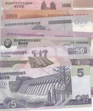 North Korea, 5 Won, 10 Won, 50 Won, 100 Won, 200 Won, 500 Won, 5000 Won (2), 2002-2013, UNC, SPECIMEN, (Total 8 banknotes)