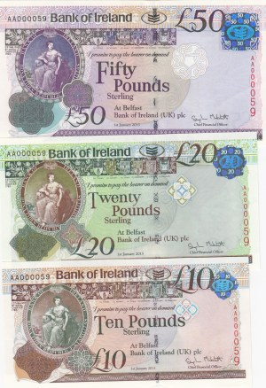 Northern Ireland, 10-20-50 Pounds, 2013, UNC, p87-p88-p89, (TOTAL THREE BANKNOTES)