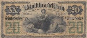 Peru, 20 Soles, 1879, FINE, p7
