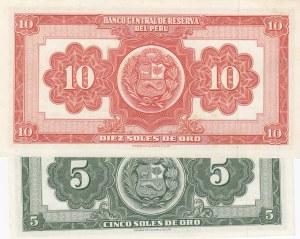 Peru, 5 Soles de Oro and 10 Soles de Oro, 1965-1966, UNC, p83/ p84, (Total 2 banknotes)