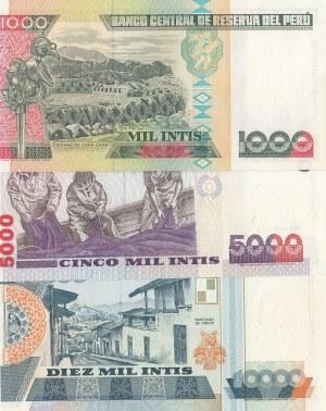 Peru, 1000 İntis, 5000 İntis and 10.000 İntis, 1988, UNC, p136 / p137 / p140, (Total 3 banknotes)