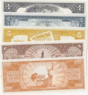 Philippines, 1 Peso, 2 Pesos, 5 Pesos, 10 Pesos and 20 Pesos, 1949, UNC, p133 /p134 /p135 / p135 /p137, (Total 5 banknotes)