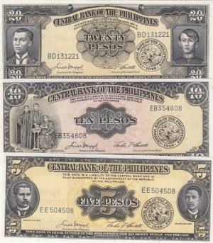 Phillipines, 5, 10 and 20 Pesos, 1949, UNC, p135e- p136e- p137e, (Total 3 Banknotes)