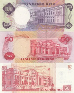 Phillipines, 50 Pesos (2) and 100 Pesos, 1969 and 2013, UNC, p146b- p217- p147a, (Total 3 banknotes)