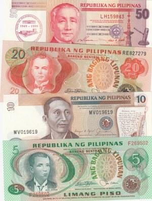 Philippines, 5 / 10 / 20 / 50  Piso, 1970-1999, UNC, p153 / p168b / p162 / p191 (Total 4 banknotes)