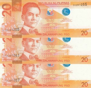 Philippines, 20 Piso, 2010, ÇİL, p206, (Total 3 banknotes)
