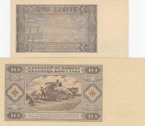 Poland, 2 Zlotych and 10 Zlotych, 1948, UNC, p134 /p136, (Total 2 banknotes)