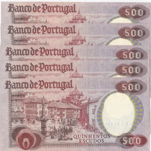 Portugal, 500 Escudos, 1979, AUNC (+), p177, (Total 5 banknotes)