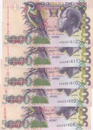 Saint Thomas and Prince, 5000 Dobras, 2013, UNC, p65d, (Total 5 consecutive banknotes)