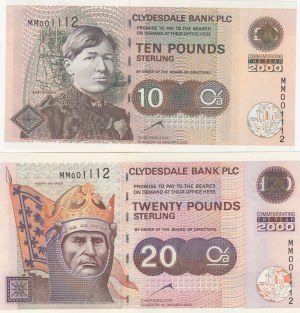 Scotland, 10 and 20 Pounds, 2000, UNC, p229A -p229B, (Total 2 banknotes)