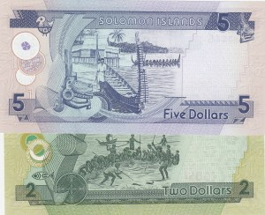 Solomon Islands, 2 Dollars and 5 Dollars, 2009-2011, UNC, (Total 2 banknotes)