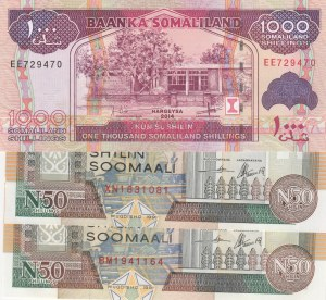 Somaliland, 50 Shillings (2) and 1000 Shillings, 1991-2014, UNC, p17 / p20c, (Total 3 banknotes)