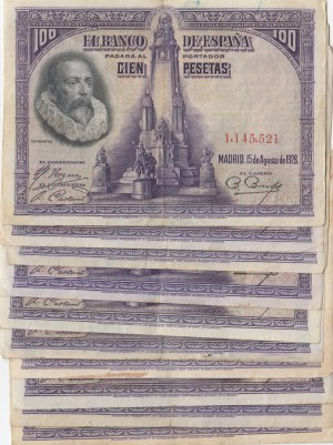 Spain, 100 Pesetas, 1928, XF, p76a, (Total 10 adet banknotes)