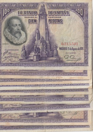 Spain, 100 Pesetas, 1928, VF / XF, p76a, (Total 10 adet banknotes)