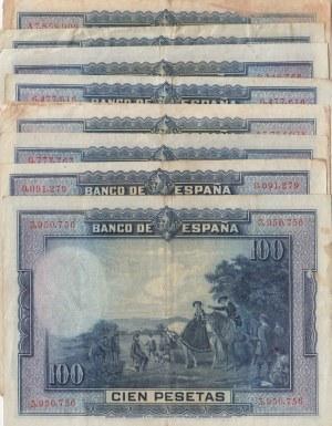 Spain, 100 Pesetas, 1928, FINE / XF, p76a, (Total 9 adet banknotes)