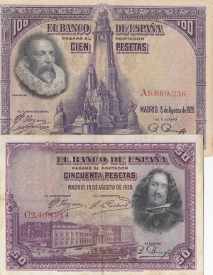 Spain, 50 Pesetas and 100 Pesetas, 1928, VF / XF, p75b / p76b, (Total 2 banknotes)