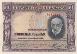 Spain, 50 Pesetas, 1935, AUNC, p88