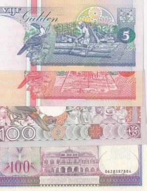 Suriname, 5 Gulden, 10 Gulden and 100 Gulden (2), 1995-1998, UNC, (Total 4 banknotes)