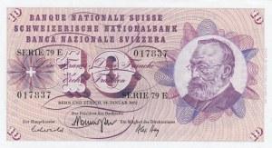 Switzerland, 10 Franken, 1972, UNC, p45r