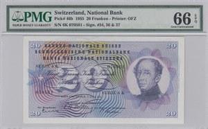 Switzerland, 20 Franken, 1955, UNC, p46b