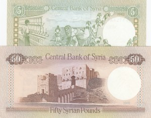 Syria, 5 Pounds and 50 Pounds, 1988-1991, UNC, p100 / p103, (Total 2 banknotes)