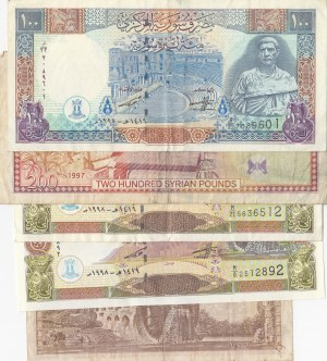 Syria, 1 Pound, 50 Pounds (2), 100 Pounds and 200 Pounds, 1963 /1998, VF / UNC,  (Total 5 banknotes)