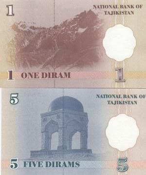 Tajikistan, 1 and 5 Dirams, 1999, UNC, p10 -p11, (Total 2 banknotes)