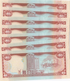 Trinidad and Tobago, 1 Dollar, 2006, UNC, p44, (Total 7 banknotes)