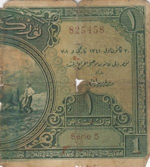 Turkey, 1 Livre, 1927, POOR, p119