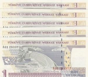 Turkey, 1 New Turkish Lira, 2005, UNC, p216, (Total 5 banknotes)