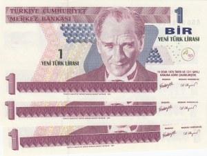Turkey, 1 New Turkish Lira, 2005, UNC, p216, (Total 3 banknotes)