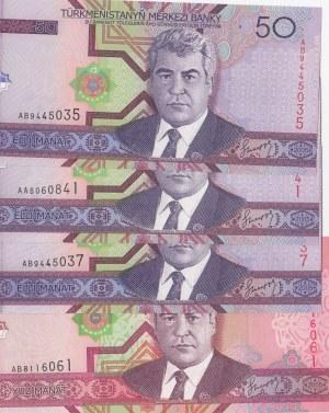 Turkmenistan, 50 Manat and 100 Manat, 2005, UNC, p17 / p18, (Total 4 banknotes)