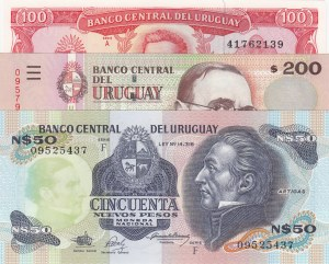 Uruguay, 50 Pesos, 100 Pesos and 200 Pesos, 1989-2011, UNC, (Total 3 banknotes)