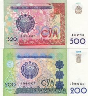 Uzbekistan, 200 and 500 Som, 1997/1999, UNC, p80- p81, (Total 2 banknotes)