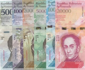 Venezuela, 500 Bolivares, 1000 Bolivares, 2000 Bolivares, 5000 Bolivares, 10000 Bolivares and 20000 Bolivares, 2016-2017, UNC, (Total 6 banknotes)