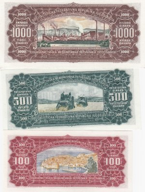 Yugoslavia, 100 Dinara, 500 Dinara and 1000 Dinara, 1963, UNC, p73 / p74 / p75, (Total 3 banknotes)