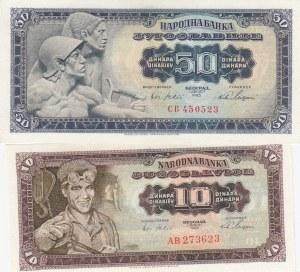 Yugoslavia, 10 Dinara and 50 Dinara, 1965, UNC, p78 / p79, (Total 2 banknotes)