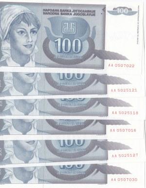 Yugoslavia, 100 Dinara, 1992, UNC, p112, (Total 6 banknotes)