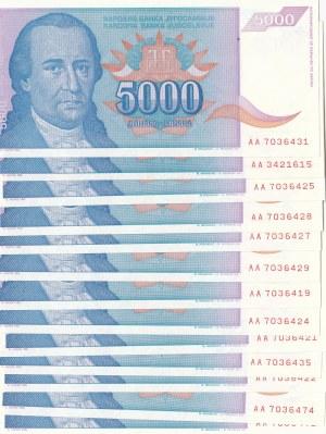 Yugoslavia, 5000 Dinara, 1994, UNC, p141, (Total 13 banknotes)
