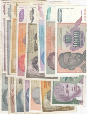 Yugoslavia, 50 Dinara, 100 Dinara (3), 1000 Dinara, 5.000 Dinara (3), 10.000 Dinara, 20.000 Dinara, 50.000 Dinara (3), 100.000 Dinara, 5.000.000 Dinara, 10.000.000 Dinara, FINE / XF, (Total 16 banknotes)