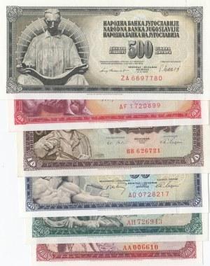 Yugoslavia, 10 Dinara, 50 Dinara, 100 Dinara (2) and 500 Dinara (2), 1963-1981, UNC, (Total 6 banknotes)
