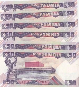 Zambia, 50 Kwacha, 1986-1988, UNC, p28, (Total 6 banknotes)