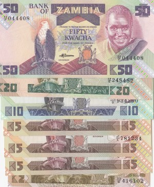 Zambia, 2 Kwacha 5 Kwacha (3), 10 Kwacha, 20 Kwacha and 50 Kwacha, 1980-1996, UNC, (Total 7 banknotes