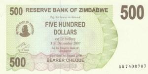 Zimbabwe, 500 Dollars, 2007, UNC, p43