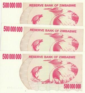 Zimbabwe, 500.000.000 Dollars, 2008, UNC, p60, (Total 3 banknotes)